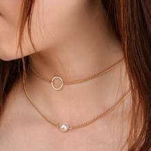 2019 Punk Multi Layered Pearl Choker Necklace Collar Statement Virgin Mary Coin Crystal Pendant Necklace Women Jewelry(China)