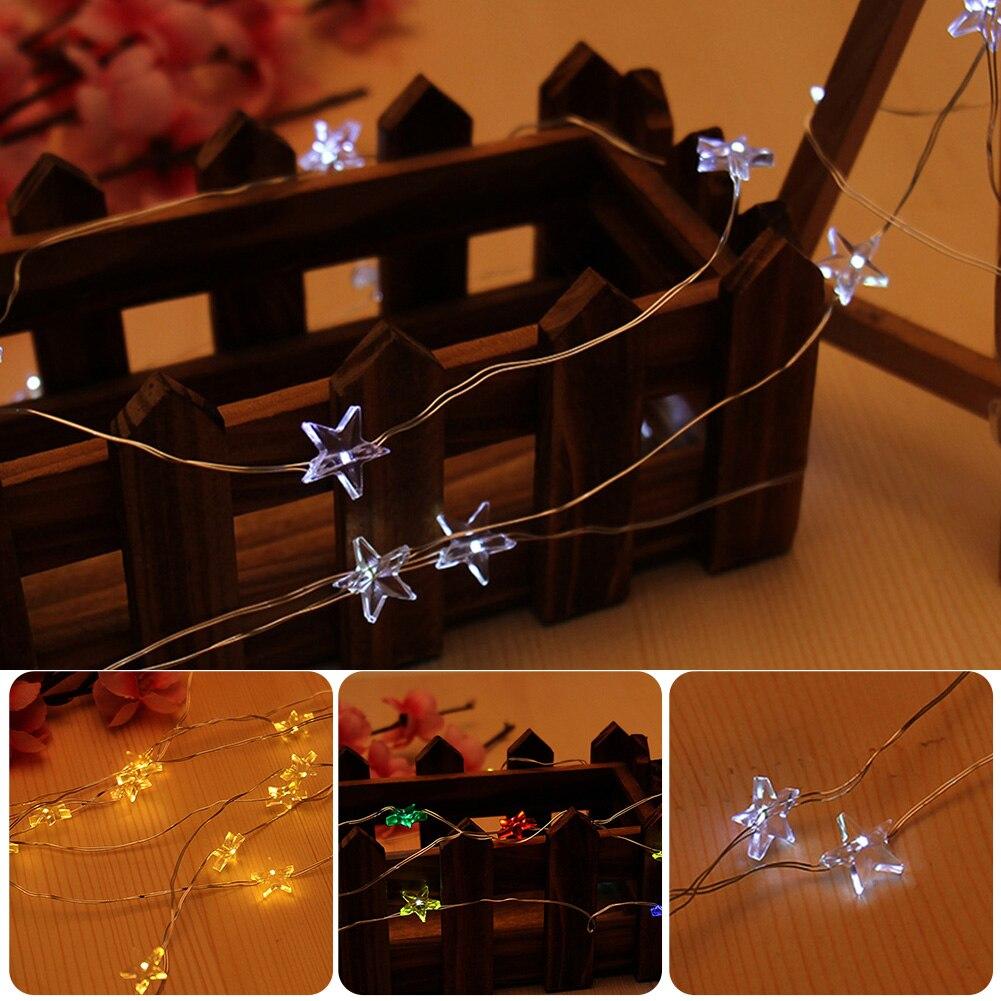 5 м свет строка луч пятиконечной звезды гибкий серебряный провода свет строка свадьбу Рождество <font><b>Flasher</b></font> фея лампы