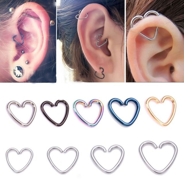 5 Pcs Lot Fake Ear Piercing Tragus Heart Earrings Cartilage Labret Ring Daith