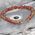 Довольно мода природного нефрита многоцветный полудрагоценных яшма браслеты женщины 6 мм круглые бусины белл подвеска драгоценности 7.5 инче B1912