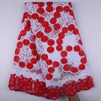 Африканская кружевная ткань 2018 красное молочный шелковистой кружевной ткани Высокое качество чистая кружевной расшитый французский фатин...