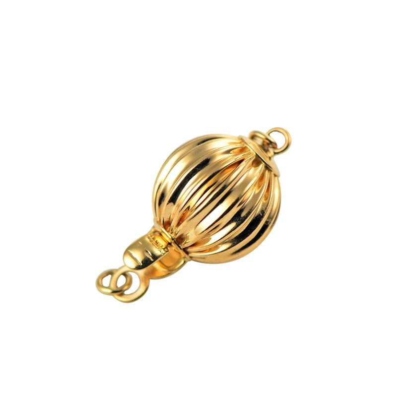 Véritable collier de perles de bracelets à faire soi-même en or 14 K faisant des résultats fournitures forme de lanterne fermoirs et crochets connecteur fermoirs accessoires