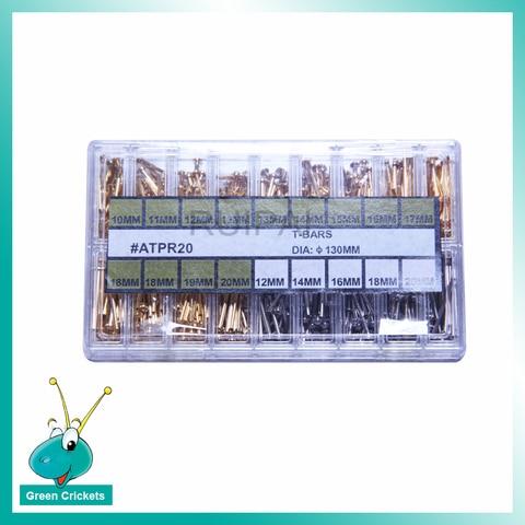 Caixa a Correia de Relógio da Parte Conecta as Barras de t T-barras de Pulseira Alta 10mm 20 20mm Assort Tamanho Bronze Ligação Pinos Conjunto 400 Pçs – 1.3mm