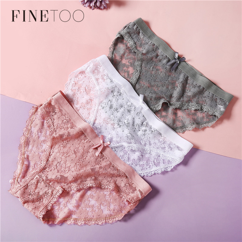 Sexy Women Panties Lace Briefs For Women Fashion Bow Floral Panty Girls Underwear Large Size XL Low Rise Pants Female Lingerie