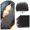 Kinky Straight Hair 13x6 Lace Frontal Closure Bleached Knots 100% Mongolian Human Hair Coarse Yaki Lace Frontals With Baby Hair