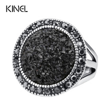 Black Broken Stone Accessories Ring New Bohemia Sterling Silver Jewelry 2014 Fashion Live To Ride For Women
