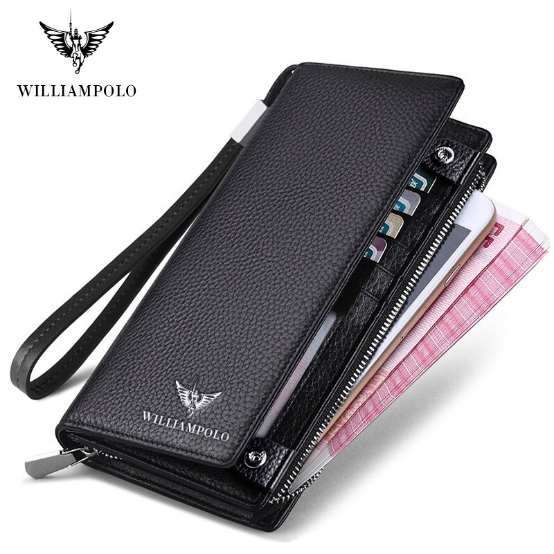 WilliamPOLO New Mens Wallet Zipper Hasp Long Genuine Leather Business Phone For Credit Cards Clutch Wallet Men POLO128A