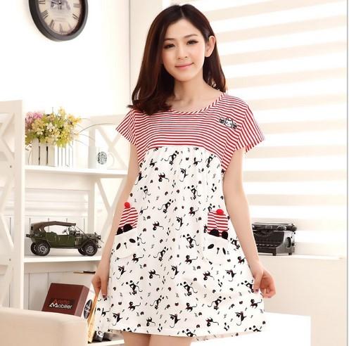100% roupões de Algodão para as mulheres Pijamas Vestido Roupa de Dormir vestido Camisola de Manga Curta pijama mulher