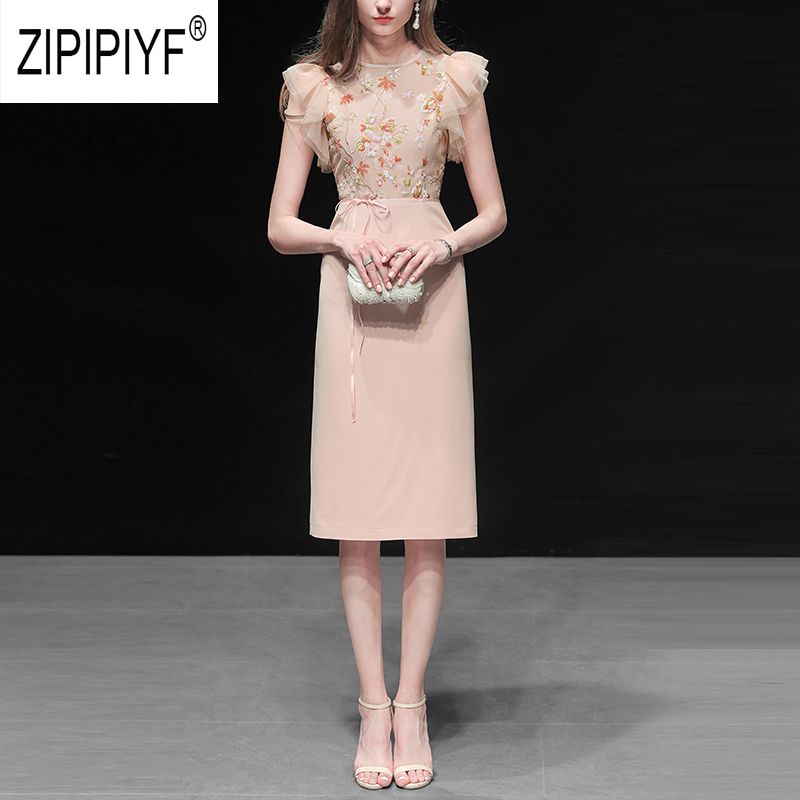 Vintage Fashion Women Dresses Embroidery Sequined Short Sleeve Sashes Bodycon Pencil Dresses High Waist Party Casual Dress Z2004