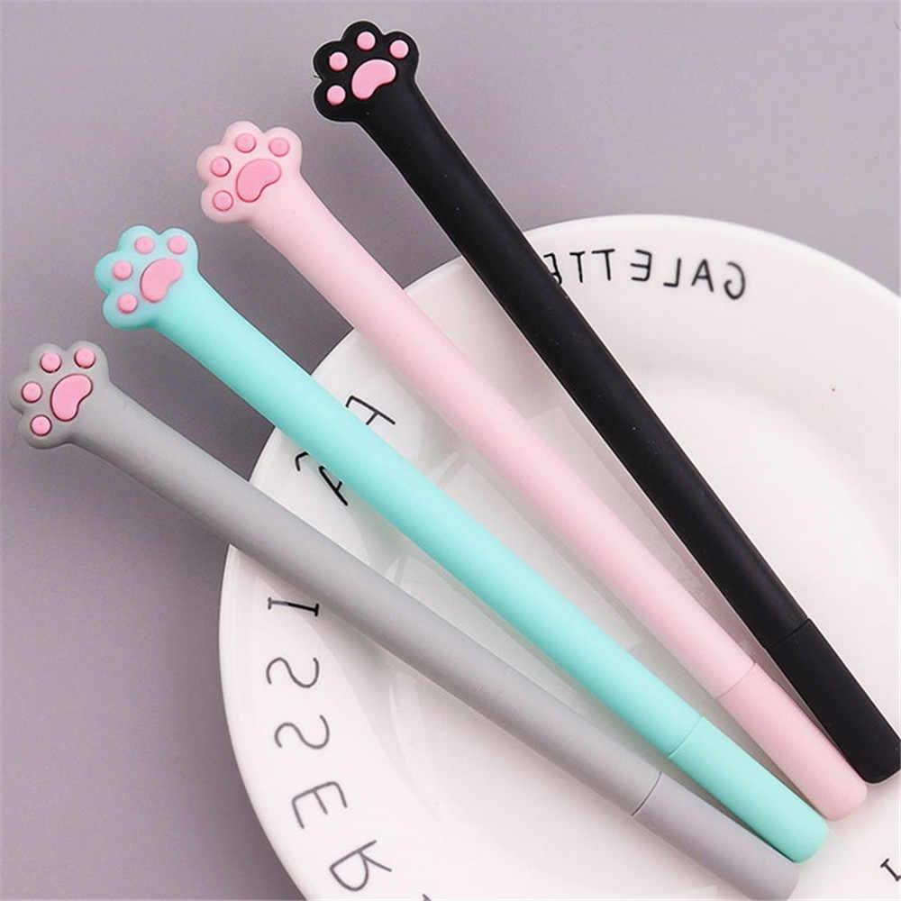 1 pc bonito kawaii gato pata macia slicone gel caneta rollerball estudante papelaria 0.5mm tinta preta caneta escola escritório escrita fornecimento