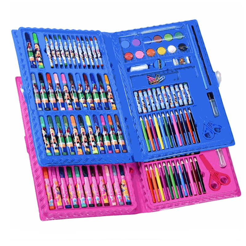 1 Set 86 Pcs Children Drawing Painting Art Set Blue Water Color Pen Crayon Oil Pastel Paint Brush Drawing Tool School Party Gift