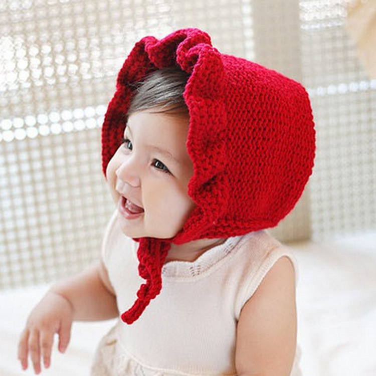 17a94cb0545 Baby Girl Hats Fashion Ruffled Windproof Baby Girl Caps Red Knitted  Children s Hats For Autumn Winter-in Hats   Caps from Mother   Kids on  Aliexpress.com ...