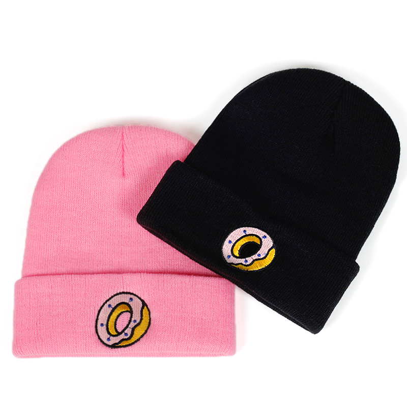 new Women's Casual Winter hat Men Knit Plus Cotton Cap Unisex Adult Donut   Skullies     Beanies   Winter Women Hats