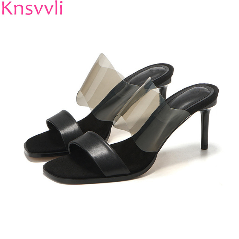 2019 Black Thin High Heels Slippers Women Clear PVC One Strap Peep Toe Summer Shoes Mujer