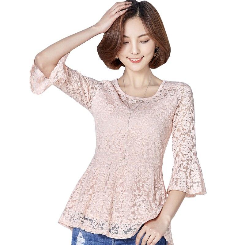 2017 elegant women blouses ruffles blouse hollow flare sleeve blusas plus size 3XL white lace blouse spring summer blouse tops