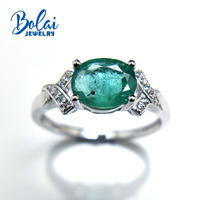 Bolaijewelry,Natural Zambia Green emerald oval cut ov6*8mm gemstone Ring 925 sterling silver fine jewelry for women with box