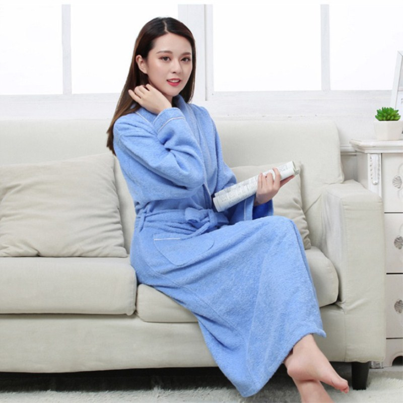 Women Men Cotton Terry BathRobes all seasons couple Robe hotel bathrobe soft breathable absorbent sleepwear Night gown hombre-in Robes from Underwear & Sleepwears