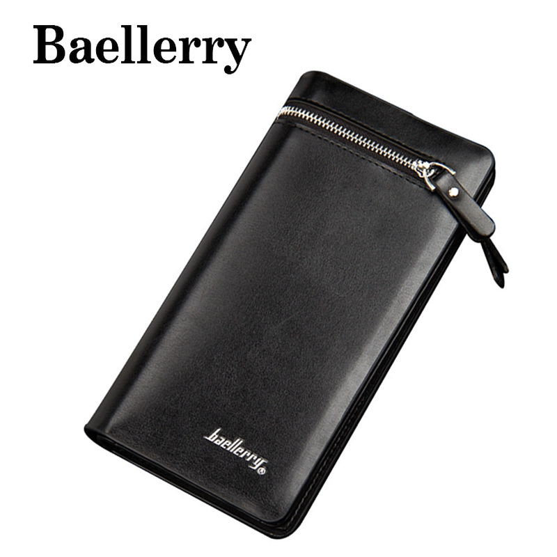 Baellerry New PU Leather Wallets Fashion Men Long Wallets Big Capacity Zipper Purse  Card Holder Pocket Business Wallets NDB5720 new multifunction man wallets 3 colors mens pu leather zipper business wallet card holder pocket purse hot plaid pouch fashion