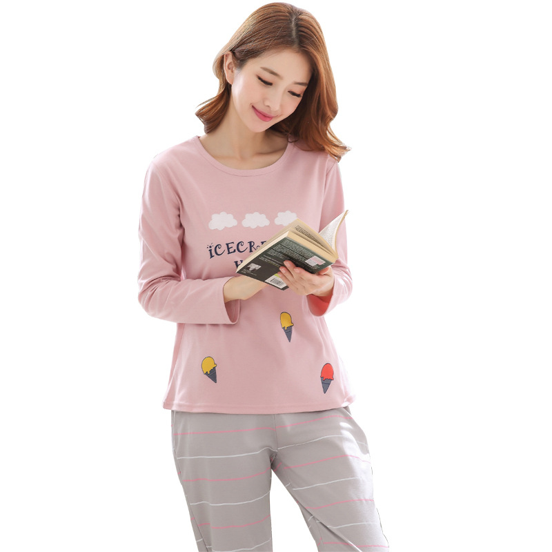 2019 Women Pajamas Sets Autumn Winter New Women Pyjamas Cotton Clothing Long Tops Set Female Pyjamas Sets NightSuit Mother Sleep 92