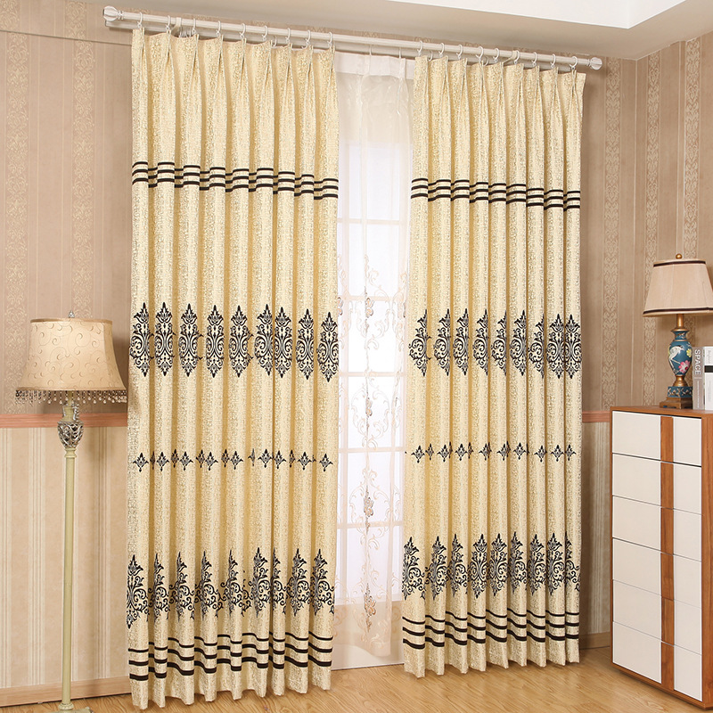 European Modern Gold Flocking Curtain High Grade Living Room Bedroom Curtains For Dining