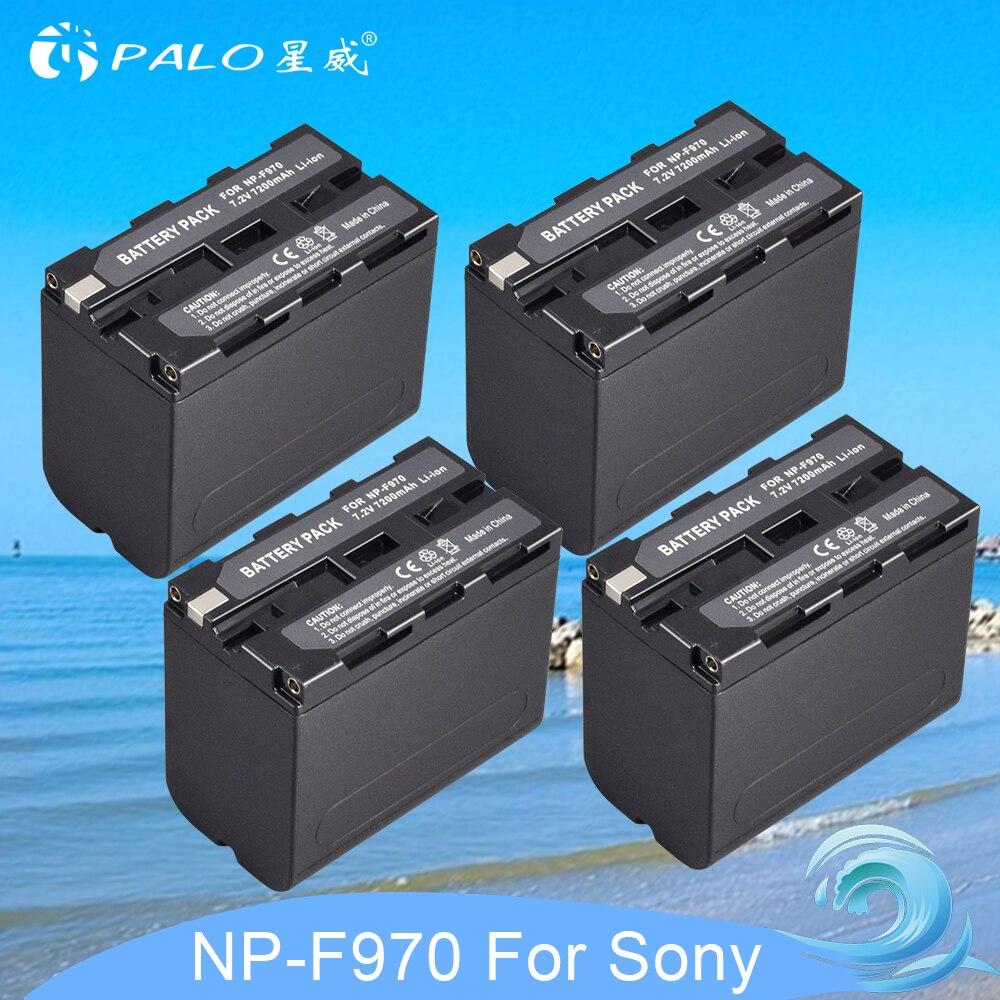 4 pièces batterie de rechange Li-ion pour Sony 7.2 V 7200 mAh batterie numérique Rechargeable NP F960 F970 pour Sony NP-F960 caméra NP-F970