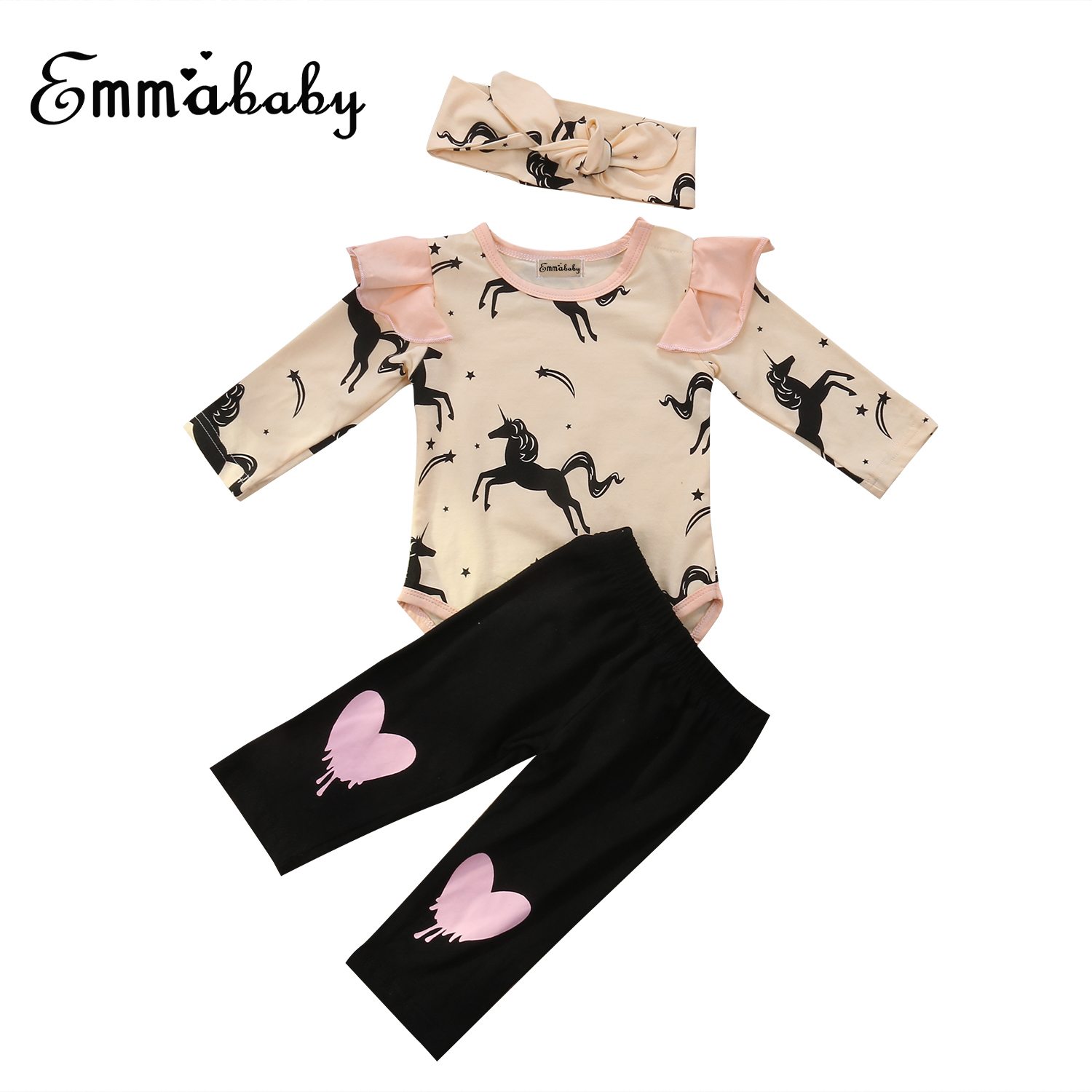 Emmababy 3PCS Infant Baby Kids Girls Horse Printed Long Sleeve Cotton Jumpsuit Bodysuit + Heart Long Pants + Headband Outfit Set