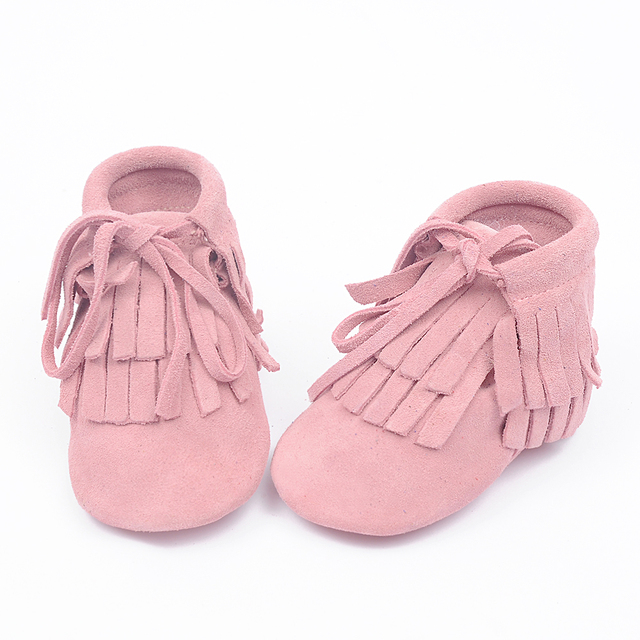 New Winter lace-up 100% Genuine Leather Toddler suede Baby Moccasins Tassel double Fringe soft sole First Walkers Baby boots