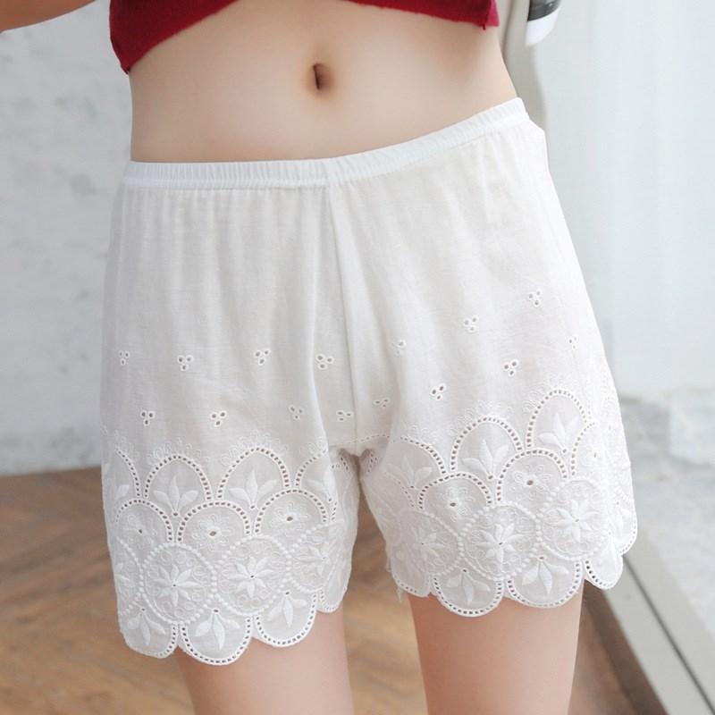 Fashion 2019 Summer Black White Safety Short Pants High Waist Breathable Underwear Knickers Sexy Lace Underwear