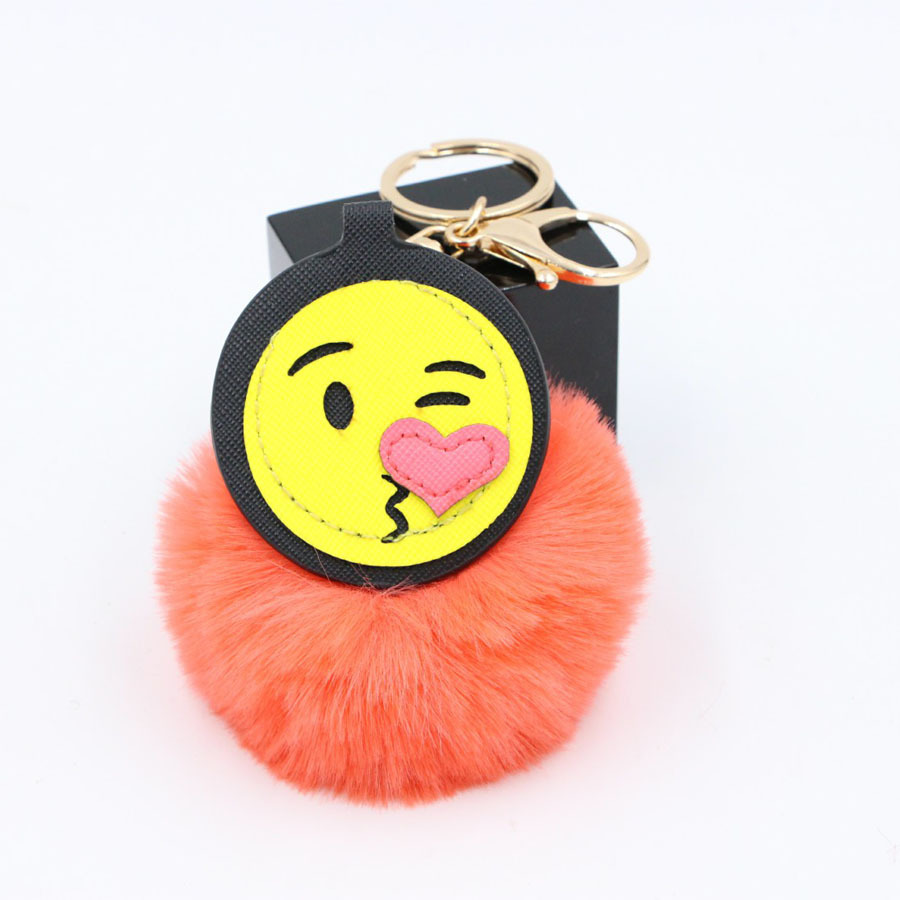 New Arrival Pom Pom Expression Keychain PU Leather Smiley face Imitation Rabbit Fur Ball Key Chain For Woman Girls Bag Charms