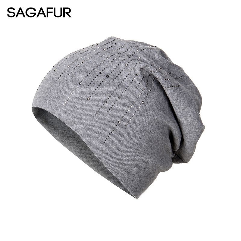 Elegant Hats Women's Rhinestone Wool Blends Bonnet 2018 New Fashion Winter Knitted Hat Female Solid Skullies Beanies For Ladies