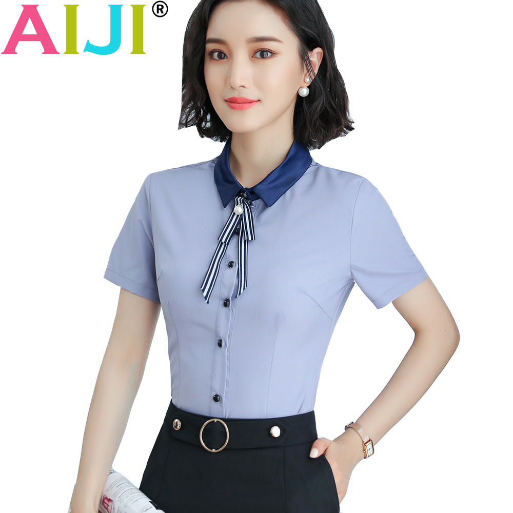 a32318d92a1 2018 fashion summer blue white o-neck elegant women shirt OL formal short  sleeve chiffon blouses office ladies plus size tops