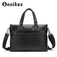 BOSIKAS человек из натуральной кожи Портфели Для мужчин сумки Бизнес Maletas сумки ноутбук сумка плеча компьютерные сумки для Для мужчин новый