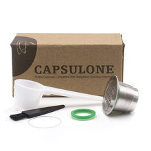 ФОТО 2-GEN Nespresso Capsules DIY STAINLESS STEEL Metal Nespresso Machine Compatible Capsule Refillable Reusable with  Spon Brush