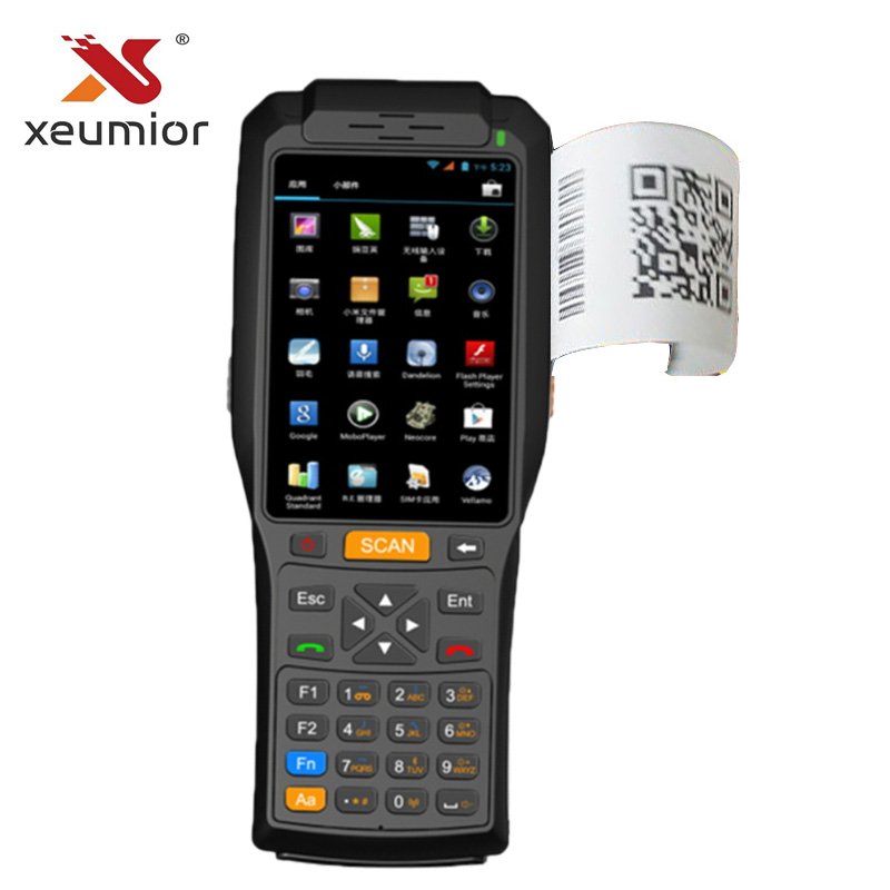 Wireless 4G Mini Android Handheld POS Terminal with Thermal Printer NFC Bluetooth Android Barcode Scanner Reader Wifi GPS PDA