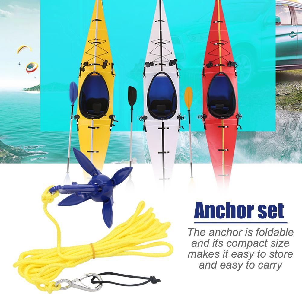 Rowing Boats Folding Kayak Anchor With With Rope 4 Tines Compact Buoy Kit Bag Kayak Canoe Motorboat SUP Paddle Board Boat Anchor