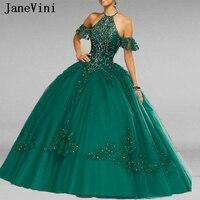 JaneVini Elegant Princess Dark Green Quinceanera Dresses Ball gown Halter Appliques Luxury Heavy Beads Tulle Vestidos De 15 Anos