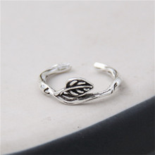 JINSE 2017 Vintage Plant Vines Leaf Open Resizable Party Ring Fine Jewelry Retro Thailand 925 Sterling Silver Rings for Women