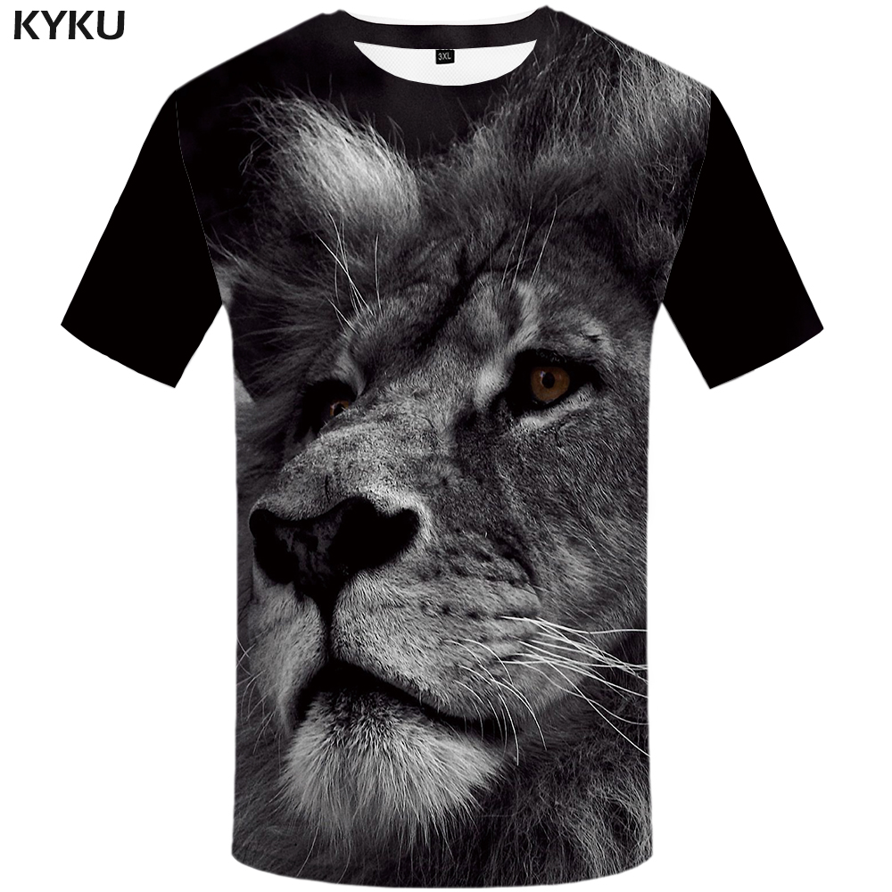 Loyal Kyku Lion T Shirt Animal 3d T-shirt Design Mens Clothing Plus Size Funny Tshirt Print Shirts Men 2018 Hip Hop Fashion Rapid Heat Dissipation