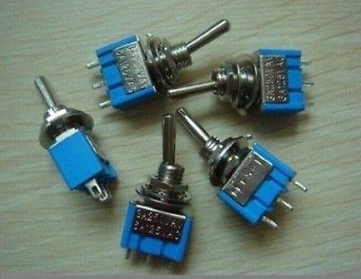 100pcs Toggle Switch 6A 125VAC 3-Pin SPDT ON-ON  GQ bonatech diy mp3 toggle switch mk12c02 micro switch silver black 100pcs