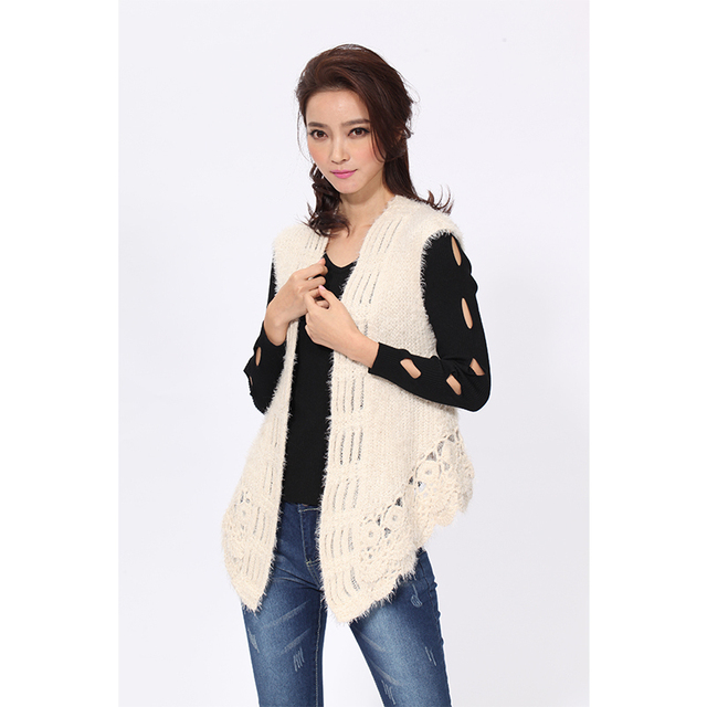 1205af1d935 Knitted Vest Women s Sleeveless Vests Casual Style Open Stitch Flat Knitting  Sweater Pattern Clothes Plus Size Hot Sale