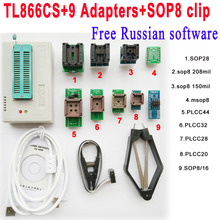 Free Russian software + Original Minipro TL866CS programmer +9 adapter socket + SOP8 Clip IC clamp V6.6 scoket Bios Flash EPROM