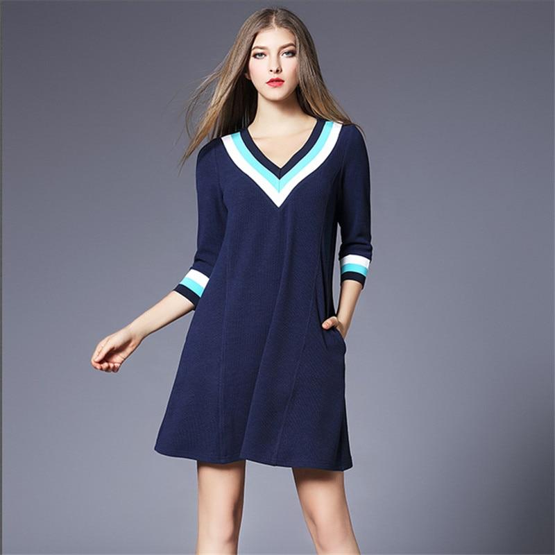 robe femme l che nouvelle 2018 col v blue plus mini bande. Black Bedroom Furniture Sets. Home Design Ideas
