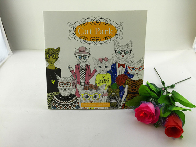 24 Pages Cat Park Coloring Book For Adult Secret Garden Styles Art Children Relieve