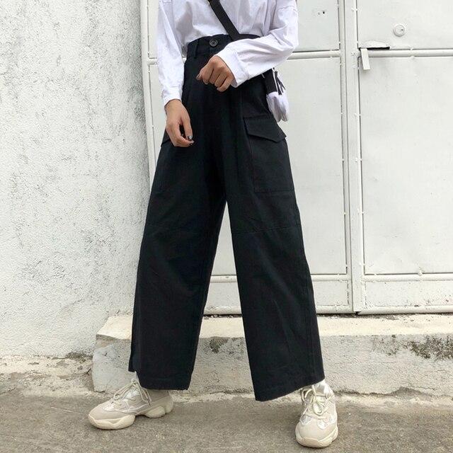 Plus Size Oversized Loose Straight Wide High Waist Ladies OL Office Fashion Cargo Full Pant Korean Trouser Streetwear Tracksuit 2