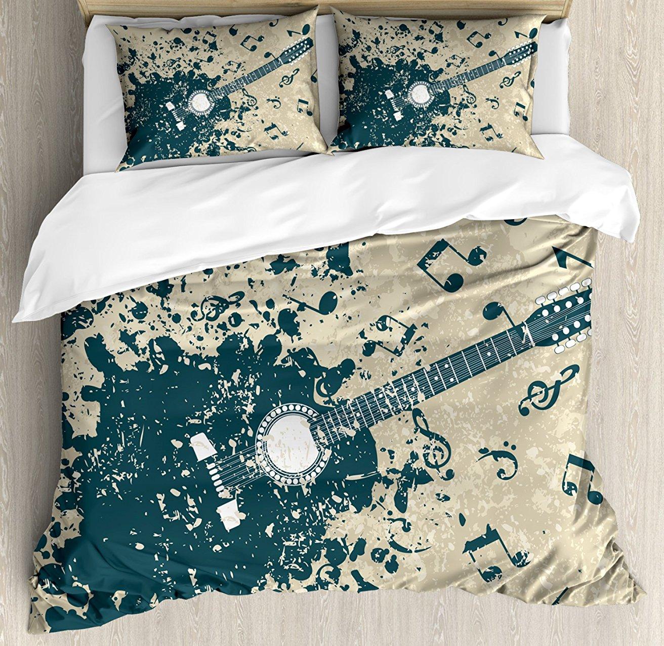 Постельное белье, акустическая гитара на ретро плохого фон с ноты Melody иллюстрации, 4 шт. Постельное белье