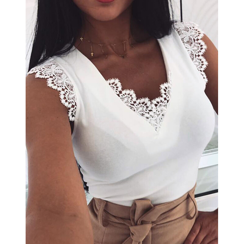 Women Lace Vest Tank Top Sleeveless Loose Camisole Casual V-Neck Tank Tops Blusas Tee Shirt Femme tops mujer verano 2019 image