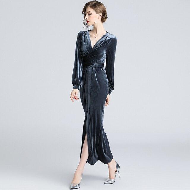 f01f8ec5cff3 fall 2018 women dress winter velour long sleeve party vestidos big v neck  elegant robe femme ete mermaid maxi dresses