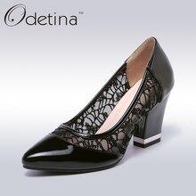 Odetina Sexy Encaje Negro Mujeres Bombas Moda Punta estrecha Básica señoras Tacones Gruesos 2017 Primavera Nuevas Mujeres Vestido de Fiesta zapatos
