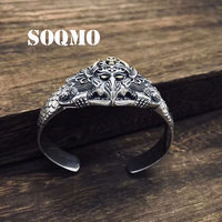 SOQMO 925 Sterling Silver Punk Bangle Men Jewelry LOVE Lucky Brave Opening Indian Bracelet Bangle Women Gift Fine Jewelry SQM094