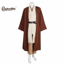 Cosplaydiy Custom Made Adult Kids Star Wars Obi-Wan Kenobi Jedi Tunic Men's Halloween Cosplay Costume